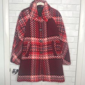 ZARA Red Pink Plaid Check Button Coat